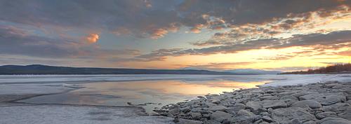 Sunset over the ice of Teslin Lake, Yukon