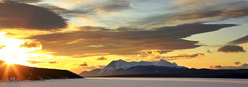 Sunrise over Dawson Peaks, Teslin, Yukon