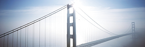 California, San Francisco, Golden Gate Bridge in foggy morning light.