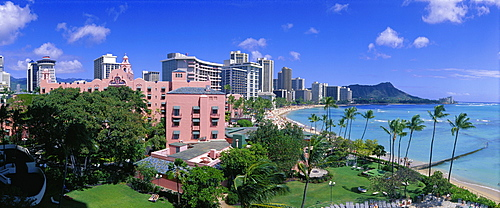 Hawaii, Oahu, Waikiki Royal Hawaiian Landscape With Beach Diamond Head Background Widelux Panoramic D1519