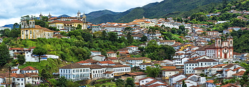View over Ouro Preto, UNESCO World Heritage Site, Minas Gerais, Brazil, South America