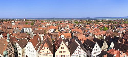 High angle view over Rothenburg ob der Tauber, Romantische Strasse, Franconia, Bavaria, Germany, Europe