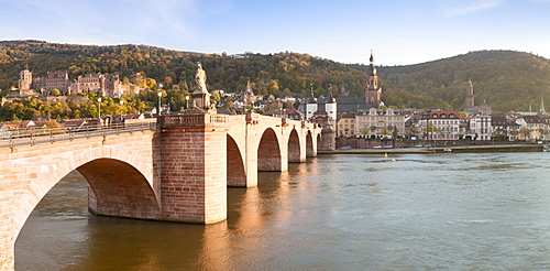 Karl Theodor Bridge with Stadttor gate, castle and Heilig Geist Church, Heidelberg, Baden Wurttemberg, Germany, Europe