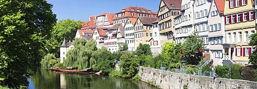 Tubingen Altstadt and Holderlinturm tower by the Neckar River, Tubingen, Baden Wurttemberg, Gemany, Europe