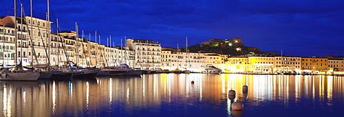 View over the harbour to Forte Stella Fortress, Portoferraio, Island of Elba, Livorno Province, Tuscany, Italy, Europe