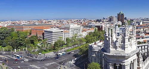 View from Palacio de Comunicaciones over Plaza de la Cibeles square at Madrid, Spain, Europe