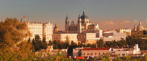Royal Palace (Palacio Real) and Almudena Cathetral (Santa Maria la Real de La Almudena) at sunset, Madrid, Spain, Europe