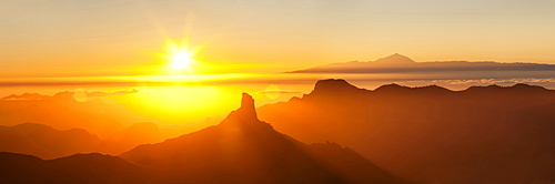 Roque Bentayga and Tenerife with Mount Teide, Gran Canaria, Canary Islands, Spain, Atlantic, Europe