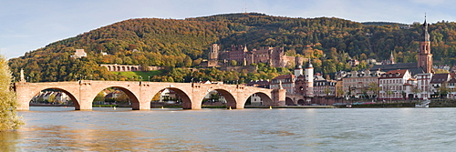 Karl Theodor Bridge, Stadttor, Castle and Heilig Geist church, Heidelberg, Baden Wurttemberg, Germany, Europe