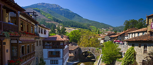 Picturesque town of Potes in valley of the Picos de Europa, Asturias, Northern Spain