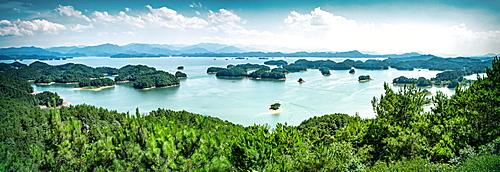 A panoramic view on the islands of Qiandaohu (Thousand Islands) Lake, Chunan, Zhejiang, China, Asia - 1171-253