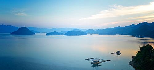 A calm view of southeast Qiandao Lake in Zhejiang province at dusk, Zhejiang, China, Asia - 1171-269