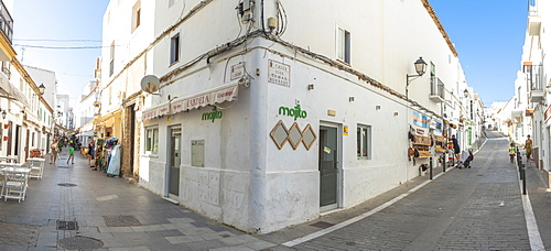 Panoramic of alley and buildings in Conil de la Frontera, Costa de la Luz, Cadiz Province, Andalusia, Spain, Europe