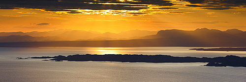 View from Isle of Skye to the islands Raasay and Rona and the mainland, Inner Hebrides, Scotland, United Kingdom, Europe