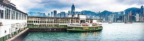 Hong Kong skyline from Star Ferry Terminal, Kowloon, Hong Kong, China, Asia