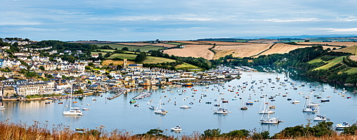 Panoramic view of Salcombe from East Portlemouth, East Portlemouth, Devon, England, United Kingdom, Europe