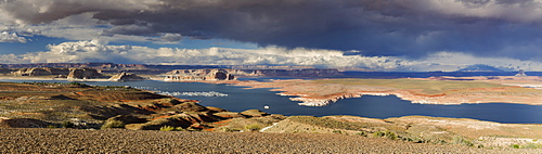 Panorama across Lake Powell to Navajo Mountain and the Grand Staircase-Escalante National Monument, Page, Arizona, United States of America, North America