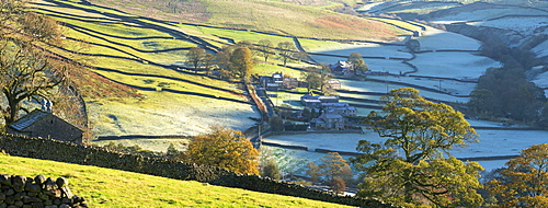 Early morning frost at remote Yorkshire Dales hamlet Skyreholme, near Simons Seat in Wharfedale, North Yorkshire, England, United Kingdom, Europe