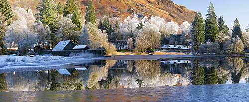 Loch Ard partially frozen over and a hoar frost around Aberfoyle in the Loch Lomond and the Trossachs National Park in mid-winter, Scotland, United Kingdom, Europe