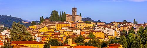 Panoramic city skyline view of Barga, Tuscany, Italy, Europe