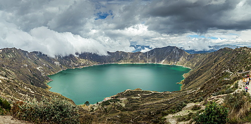 Panorama of Quilotoa, a water-filled caldera and the most western volcano in the Ecuadorian Andes, Ecuador, South America