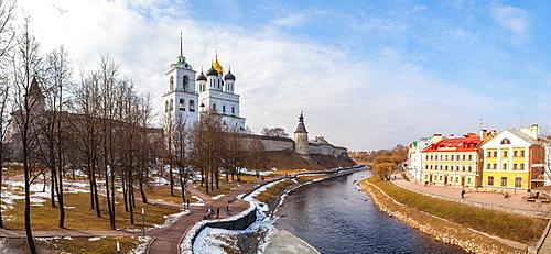 Panoramic vew of embankment and Kremlin in Pskov, Russia, Europe