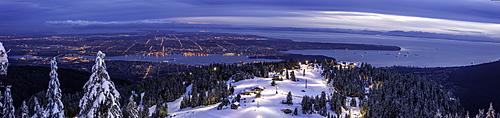 Panorama of Vancouver from mountain peak above ski resort, Vancouver, British Columbia, Canada, North America