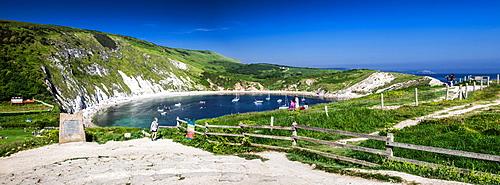 Panorama of Lulworth Cove on a hot summer day, Jurassic Coast, UNESCO World Heritage Site, Dorset, England, United Kingdom, Europe