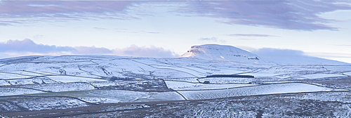 Snow covered Pen-y-ghent, one of the Three Peaks photographed at sunset, Yorkshire Dales, Yorkshire, England, United Kingdom, Europe