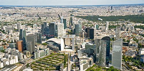 Aerial view of Financial District, La Defense, Paris, France, Europe