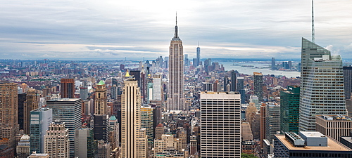 Lower Manhattan skyline from Top of The Rock, Empire State Building, New York, United States of America, North America