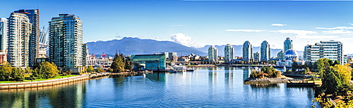 Panorama view of False Creek, Vancouver skyline, World of Science Dome, BC Place, Vancouver, British Columbia, Canada, America