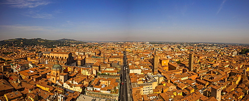 View from the Asinelli Tower (Torre degli Asinelli), Bologna, Emilia-Romagna, Italy, Europe