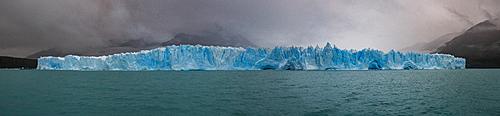 A panoramic view of Perito Moreno Glacier in Los Glaciares National Park, UNESCO World Heritage Site, Santa Cruz Province, Patagonia, Argentina, South America