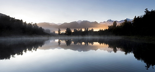 Lake Matheson panoramic at sunrise with Mount Cook, South Island, New Zealand,
