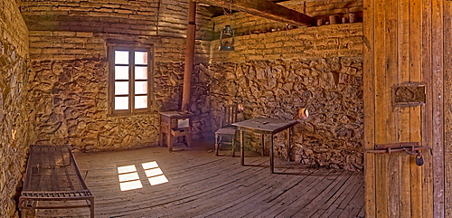 A panorama of the historic cabin of Henry Wickenburg, who founded the Arizona town with the same name in the late 1800s, Wickenburg, Arizona, United States of America, North America
