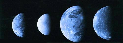 Galilean Moons Io, Europa, Ganymede and Callista.