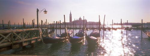 Panoramic view, soft focus effect, across lagoon towards island of San Giorgio Maggiore, Venice, UNESCO World Heritage Site, Veneto, Italy, Europe