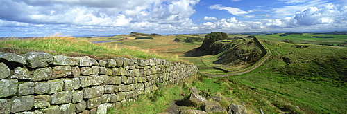 View along Hadrian's Wall from Hotbank Crags, UNESCO World Heritage Site, near Hexham, Northumberland, England, United Kingdom, Europe