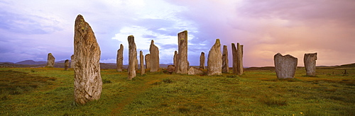 Stone circle at dawn, Callanish, near Carloway, Isle of Lewis, Outer Hebrides, Scotland, United Kingdom, Europe