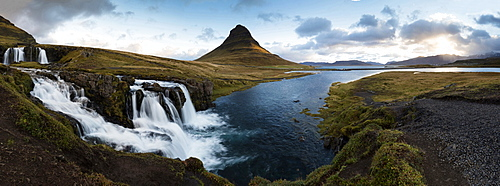 Panoramic view of Kirkjufell (Church Mountain) and mountain stream, Grundafjordur, Snaefellsnes Peninsula, Iceland, Polar Regions