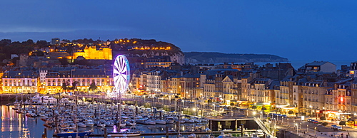 Dieppe harbour waterfront marina panorama at dusk, Dieppe, Seine-Maritime, Normandy, France, Europe