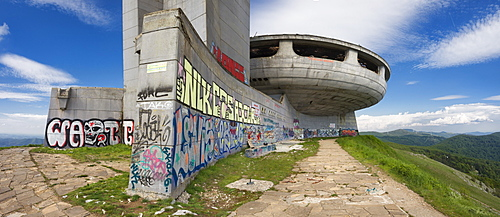 House of Bulgarian Communist Party, Buzludzha site battle Bulgarian forces and Ottoman Empire, established 1974 architect Stoilov, Stara Zagora Region, Bulgaria, Europe