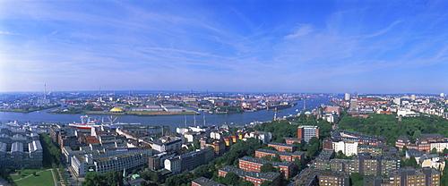 Panoramic view from St. Michaelis, Hamburg, Germany, Europe