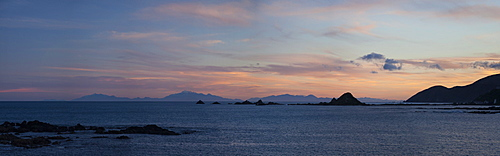 Panorama with Kaikoura Ranges in South Island at sunset from Wellington, North Island, New Zealand, Pacific