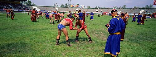 Wrestlers at tournament, Naadam festival, Tov Province, Mongolia, Central Asia, Asia