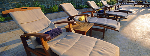 Sun loungers, Dubai, United Arab Emirates, Middle East