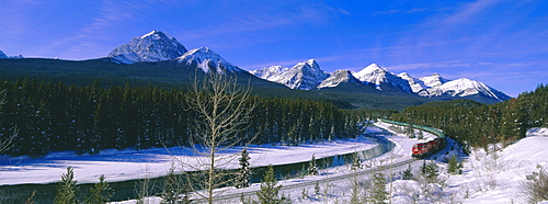 Canadian Pacific train near Banff, Alberta, Canada