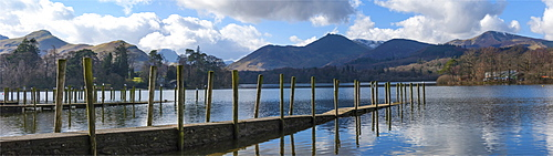 Lake Derwentwater, Catbells, Brandlehow, Causey Pike and Grisdale Pike, from the boat landings at Keswick, North Lakeland, Lake District National Park, Keswick, Cumbria, England, United Kingdom, Europe