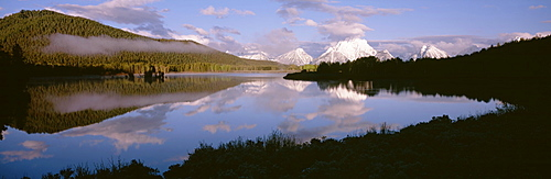 Clouds over a mountain range, Snake River, Mt. Moran, Oxbow Bend, Grand Teton National Park, Wyoming, USA